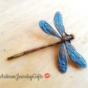 Patina Blue Dragonfly Bobby Pin Hair Clip